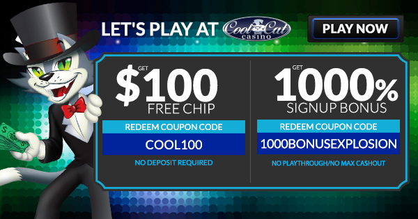 Cool Cat - Slider Banner - 1000% Bonus + $100 Free Chip - 600x315